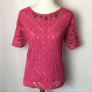 Alfred Dunner Crochet Overlay Sweater Pink XL